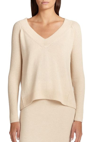 Donna Karan Cashmere v-neck sweater in parchment - A plush cashmere sweater is defined by an elegant V-neck...