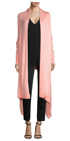 Donna Karan cozy long-sleeve duster cardigan in coral - Cascading handkerchief hem offers sleek aesthetic to...