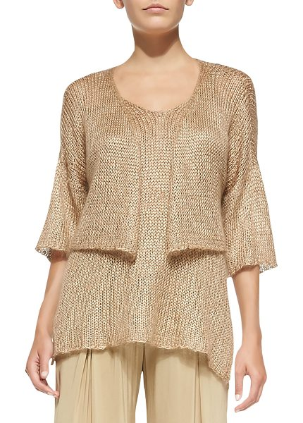Donna Karan Cropped Half-Sleeve Cardigan in nude - Crocheted Donna Karan cardigan, cropped at waist. Open...