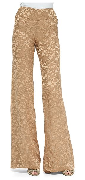 Donna Karan High-Waist Wide-Leg Pants in nude - Donna Karan woven pants. Rise sits at the natural waist....