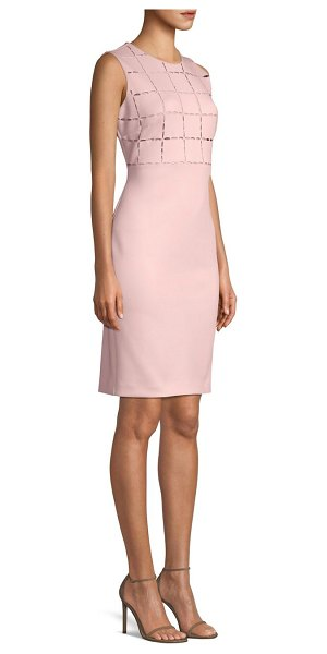 Donna Karan laser cut bodice scuba sheath in dusty mauve - Sexy stretch scuba sheath with a laser cut windowpane...