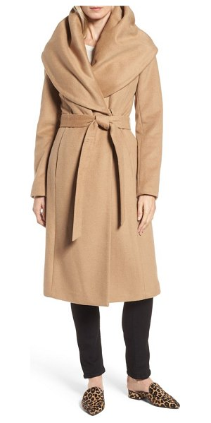 Donna Karan dkny wool blend shawl collar wrap coat in camel - A wide, face-framing shawl collar adds elegant drama to...