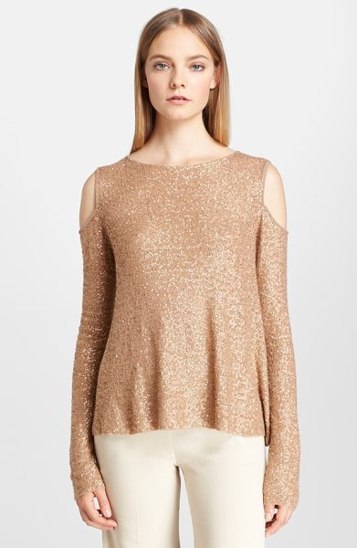 Donna Karan sequin cold shoulder cashmere top in nude - Glittering blush-toned sequins light up a softly draped,...