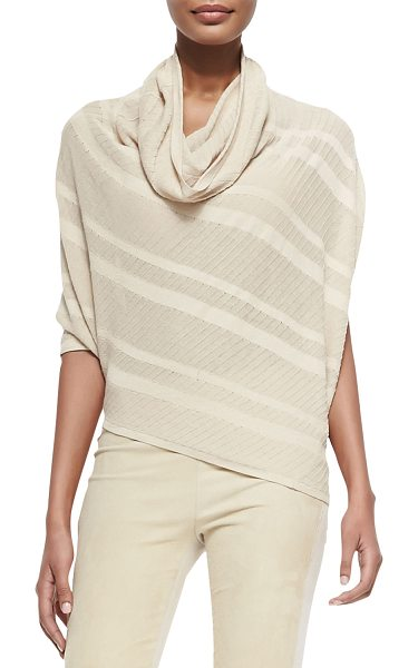 Donna Karan Striped asymmetric cowl-neck sweater - in parchment - Striped sweater by Donna Karan in asymmetric design....