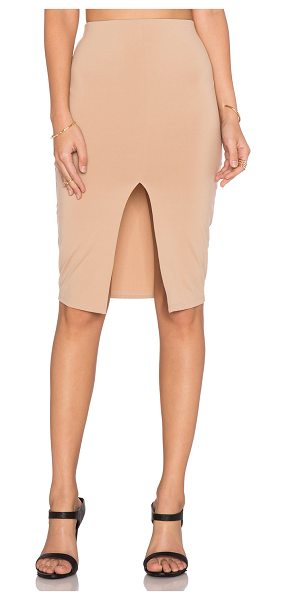 "Donna Mizani Front Slit Midi Skirt in beige - Modal blend. Skirt measures approx 24"""" in length...."