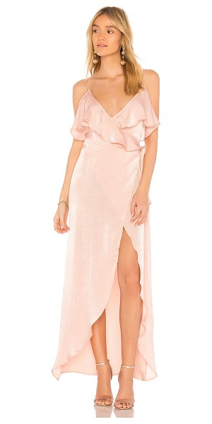 Donna Mizani Gracie Dress in pink - 100% poly. Dry clean only. Unlined. Wrap design with tie...