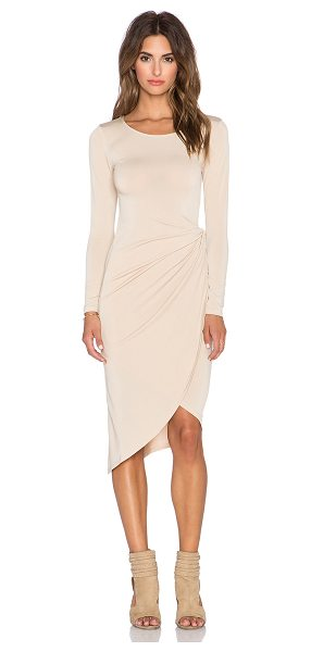 Donna Mizani Knot Front Midi Dress in tan - 95% poly 5% spandex. Dry clean only. Unlined....