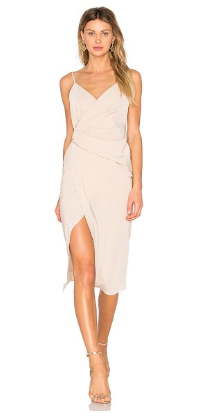 DONNA MIZANI Leona Hi Low Dress - 100% poly crepe. Dry clean only. Unlined. Surplice...