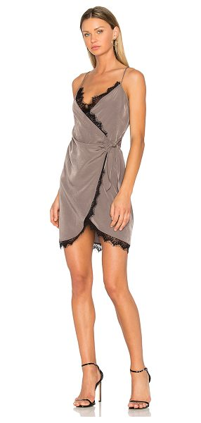 Donna Mizani Olivia Dress in taupe - 100% poly. Dry clean only. Unlined. Adjustable shoulder...
