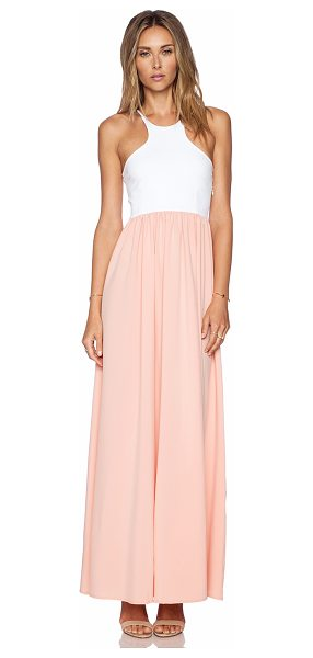 Donna Mizani Racer front gown in peach - 95% poly 5% spandex. Dry clean only. Unlined. Side...