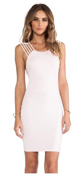 Donna Mizani Strap dress in pink - Rayon / spandex blend. Partially lined. Multi shoulder...
