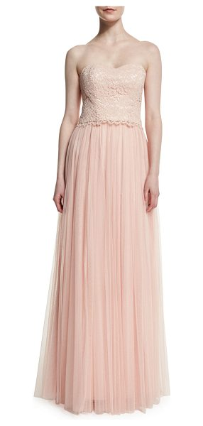 "Donna Morgan Adeline Strapless Lace Tulle Combo Gown in peal pink - Donna Morgan ""Adeline"" two-piece gown with floral lace..."
