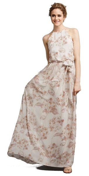Donna Morgan alana print chiffon halter style gown in dusty pink - From the Serenity collection by Donna Morgan, a lovely...