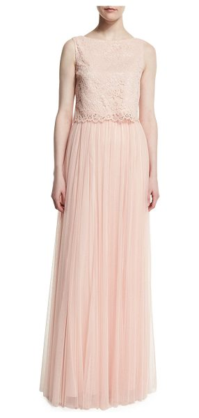 "Donna Morgan Alexis Sleeveless Top & Skirt Set in pearl pink - Donna Morgan ""Alexis"" floral lace shell and raw-cut..."