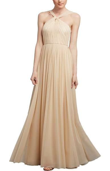 Donna Morgan ava halter style mesh a-line gown in almond - Evoking an air of vintage glamour and romance, a...