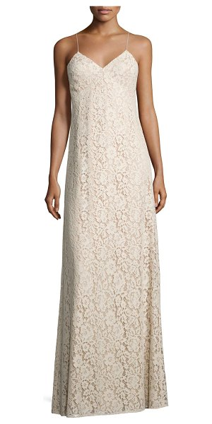 """Donna Morgan Gia Sleeveless V-Neck Lace Column Gown in pearl pink - Donna Morgan """"Gia"""" floral lace column gown. Approx...."""