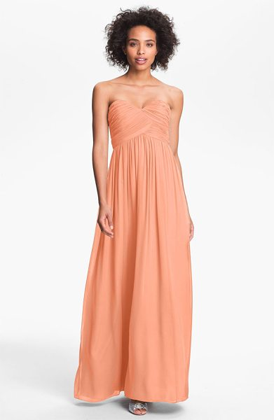 Donna Morgan laura ruched sweetheart silk chiffon gown in peach fuzz - Asymmetrical ruching fashions the exquisite sweetheart...