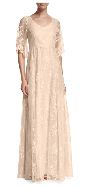 "Donna Morgan Madeline Floral Lace A-line Gown in apricot - Donna Morgan ""Madeline"" evening gown in floral lace...."