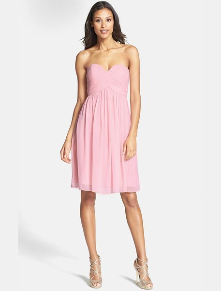 Donna Morgan morgan strapless silk chiffon dress in blush - A delicate chiffon dress with a strapless sweetheart...