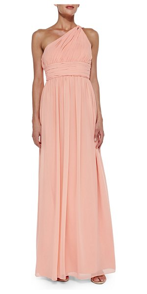 """Donna Morgan One-shoulder chiffon gown in peach fuzz - Donna Morgan chiffon gown. Approx. 62""""L from shoulder to..."""
