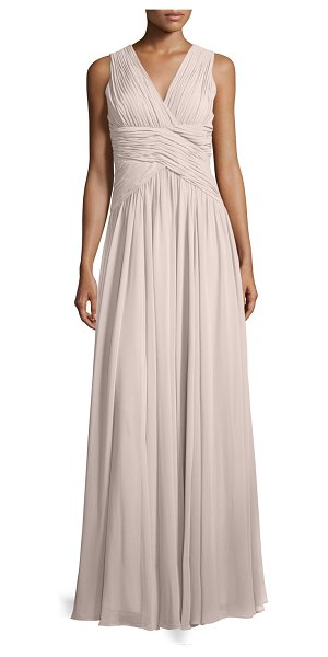 "Donna Morgan Paloma Sleeveless Ruched Gown in palest pink - Donna Morgan ""Paloma"" ruched-chiffon gown. Approx. 62""L..."