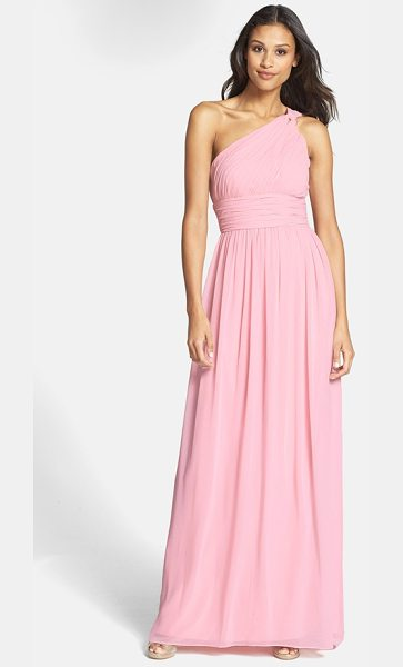 Donna Morgan rachel ruched one-shoulder chiffon gown in blush - An elegantly knotted shoulder gathers the pleated bodice...