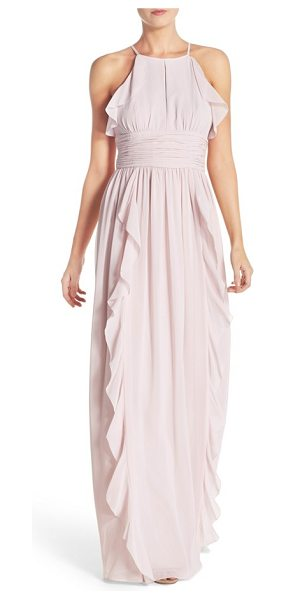 Donna Morgan skye ruffle trim a-line gown in palest pink - A chiffon gown moves with fluttery elegance as soft,...