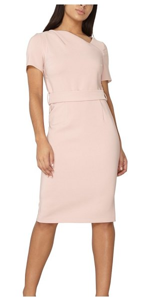 DOROTHY PERKINS asymmetrical pencil dress in pink - An asymmetrical neckline and curved seams add a dash of...