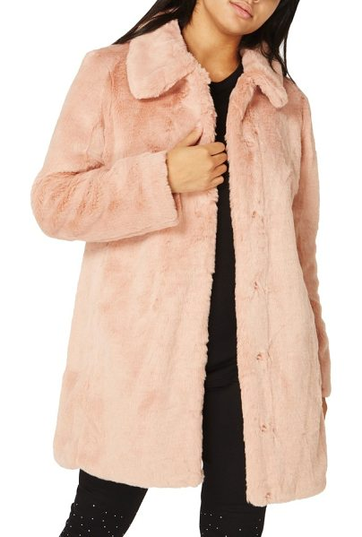 DOROTHY PERKINS dolly faux fur jacket in dusky rose - A neat point collar adds to the vintage-inspired charm...