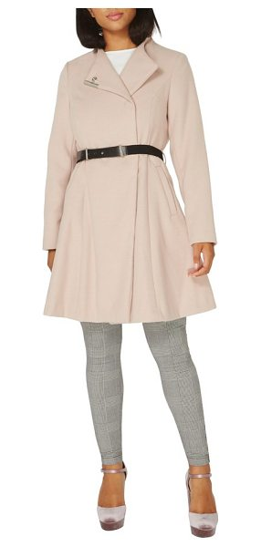 DOROTHY PERKINS skirted coat in blush - A slim contrast belt nips in the waist of a pale-pink...