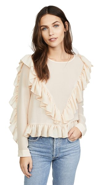 dRA andrea top in powder - Ruffles add a feminine charm to this sheer dRA blouse....