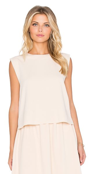dRA Keiffer tank in blush - 95% poly 5% spandex. Back pleated detail. Raw cut edges....