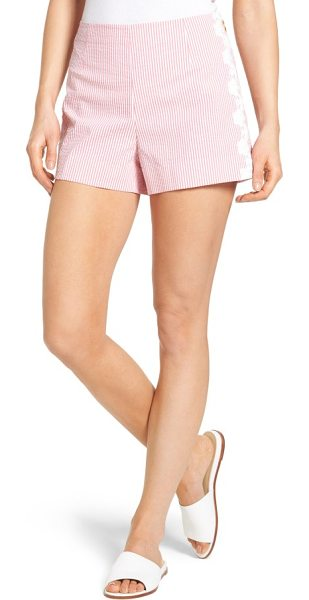 DRAPER JAMES seersucker shorts - Lacy flowers frame the sides of a pair of neatly...