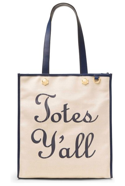 DRAPER JAMES totes y'all canvas tote in natural - Sunny, Southern charm extends to your accessories with...