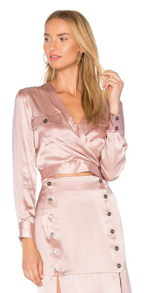 DREAM Nina Wrap Top in pink - 100% silk. Dry clean only. Surplice neckline. Double...