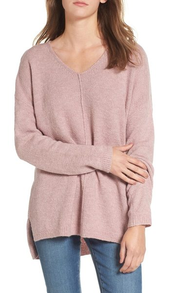 DREAMERS BY DEBUT exposed seam tunic sweater in mauve - An exposed seam that runs down the front adds homemade...