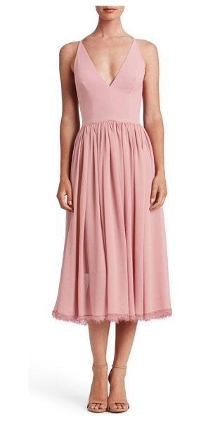 Dress the Population alicia mixed media midi dress in blush