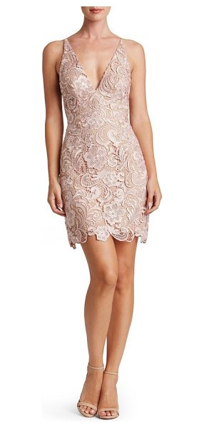 Dress the Population allie sheath dress in rose - Intricate, lustrous lace skims the hourglass silhouette...