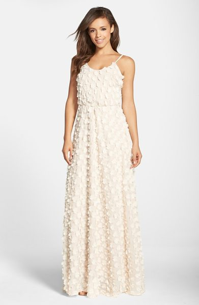 Dress the Population athena floral applique gown in cream - Fluttery appliques bloom all over an ethereal chiffon...