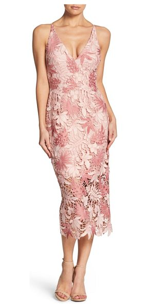 Dress the Population aurora lace tea length dress in camilia/ rose - Alluring details, including a plunging neckline and...