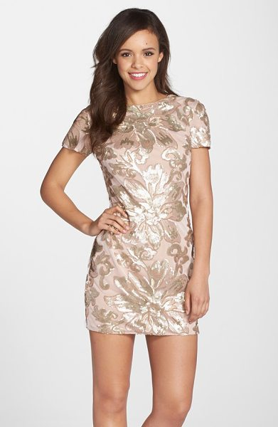 Dress the Population beverly floral sequin minidress in blush - Bright, shiny sequins in a girly floral design pattern...