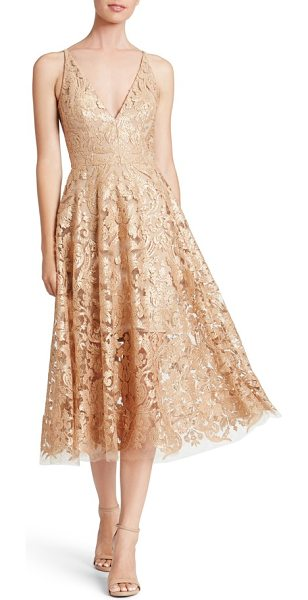 Dress the Population blair embellished fit & flare dress in gold/ nude - Shimmering sequins embellish an elegant lace dress in a...