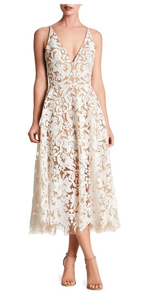 Dress the Population blair sleeveless sequin lace midi dress in white nude