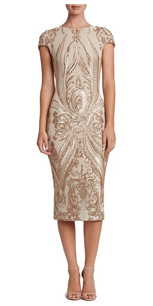 DRESS THE POPULATION brandi sequin body-con dress in champagne/ nude - Densely sewn sequins paint ornate patterns over this...