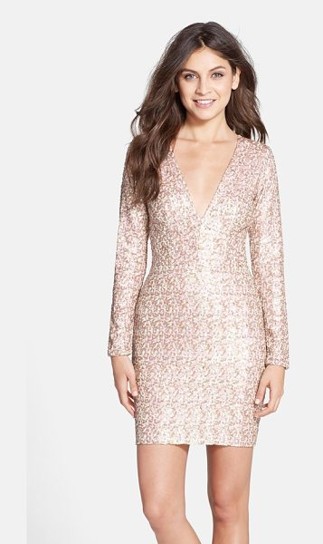 Dress the Population bridget sequin v-neck body-con dress in opalescent - Two-tone sequins illuminate the curve-flaunting...