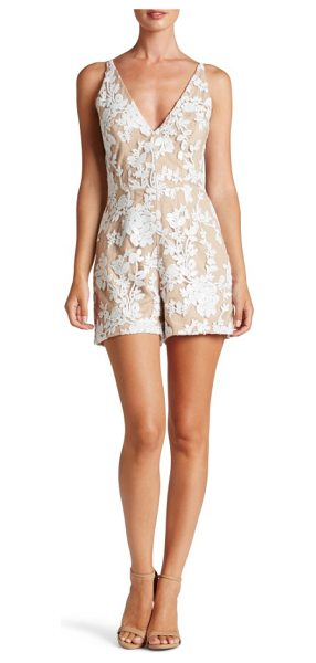 Dress the Population carly romper in white/ nude - This leggy romper scintillates in sequined lace, darted...