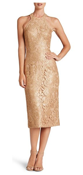 Dress the Population cassie sequin midi dress in gold/ nude - Shimmering sequins light up the elegant lace in this...