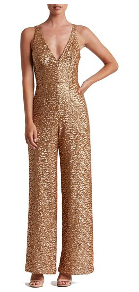 Dress the Population charlie sequin jumpsuit in carmel gold - A dense covering of satin-finish sequins flatters and...