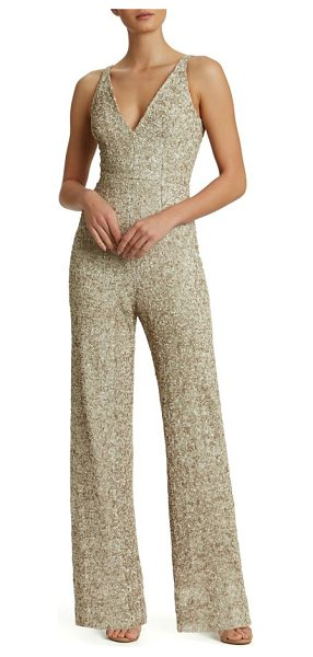 Dress the Population charlie sequin jumpsuit in taupe - A dense covering of satin-finish sequins flatters and...