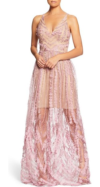 Dress the Population chelsea lace a-line gown in lilac/ nude - A delicately sheer lace overlay topped with luxuriant...